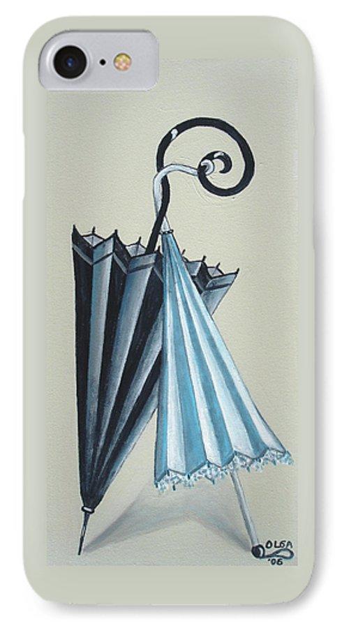 Umbrellas IPhone 7 Case featuring the painting Goog Morning by Olga Alexeeva