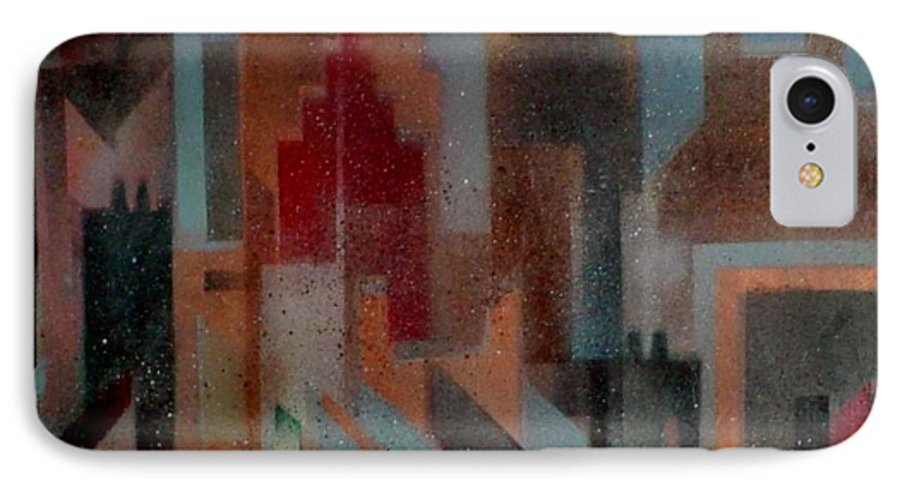 Abstract IPhone 7 Case featuring the painting Gothem City by Anita Burgermeister