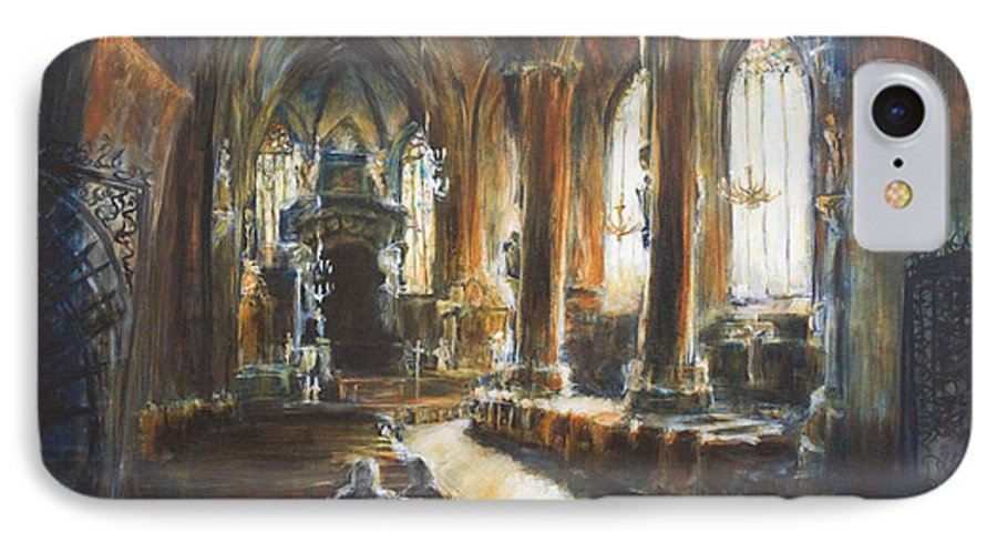 Church IPhone 7 Case featuring the painting Gothic Church by Nik Helbig