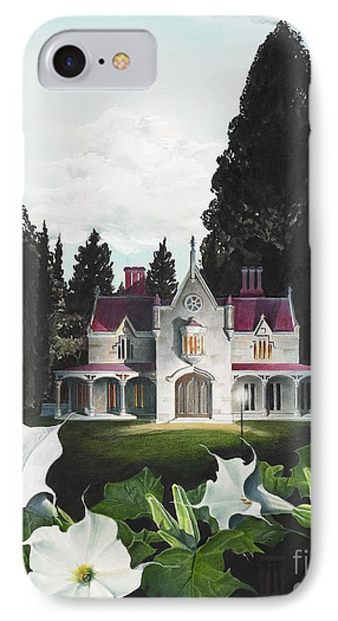 Fantasy IPhone 7 Case featuring the painting Gothic Country House Detail From Night Bridge by Melissa A Benson