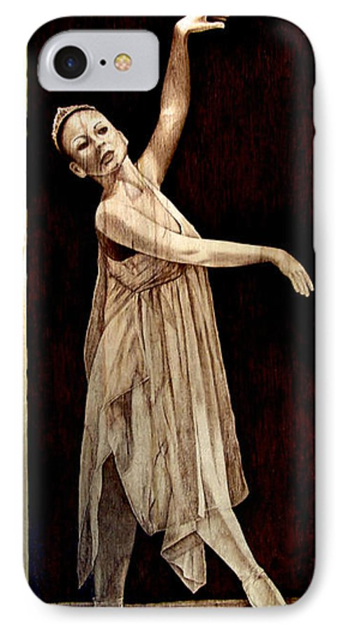Pyrography; Woodburning; Ballerina; Light; Portrait; Shoe; Stage; Dress; Crown; Tiara; Dance; IPhone 7 Case featuring the pyrography Grace Touching Light by Jo Schwartz