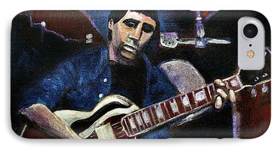 Shining Guitar IPhone 7 Case featuring the painting Graceland Tribute To Paul Simon by Seth Weaver