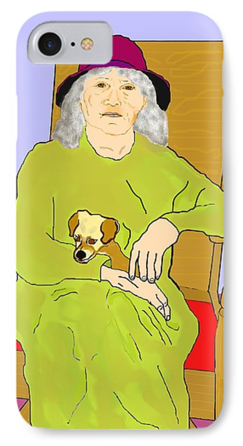 Grandmother IPhone 7 Case featuring the painting Grandma And Puppy by Pharris Art