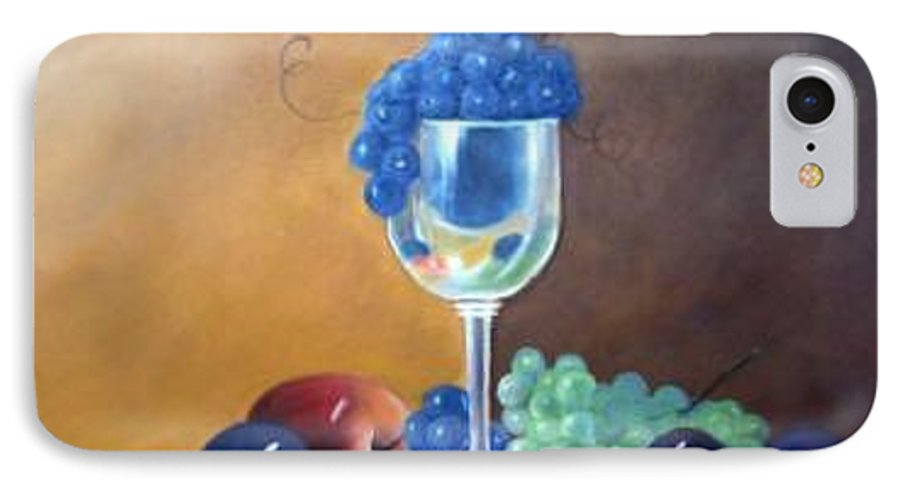 Wine Galsses With Grapes IPhone 7 Case featuring the painting Grapes And Plums by Susan Dehlinger