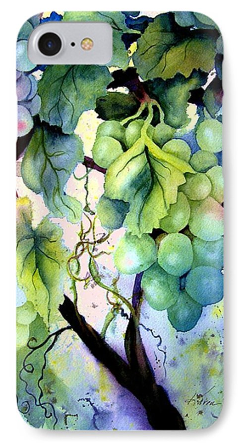 Grapes IPhone 7 Case featuring the painting Grapes II by Karen Stark