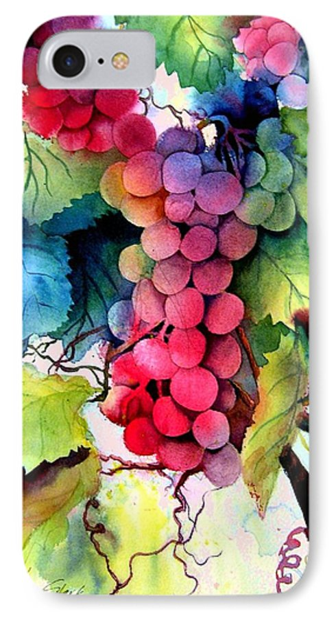 Grapes IPhone 7 Case featuring the painting Grapes by Karen Stark