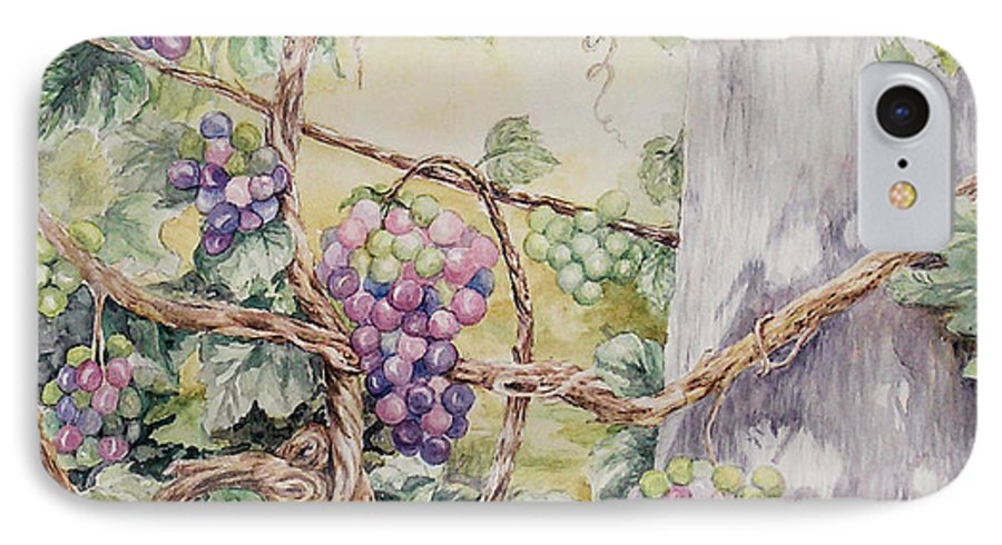 Vines IPhone 7 Case featuring the painting Grapevine Laurel Lakevineyard by Valerie Meotti