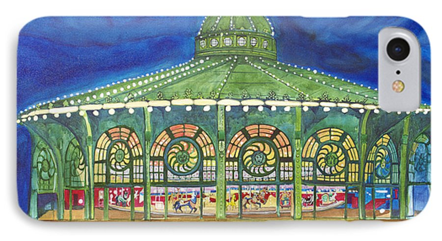 Night Paintings Of Asbury Park IPhone 7 Case featuring the painting Grasping The Memories by Patricia Arroyo