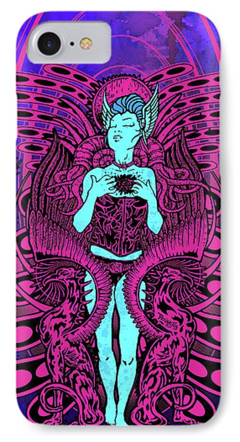 Art IPhone 7 Case featuring the mixed media Gravitron by Thomas Ambrose DENNEY