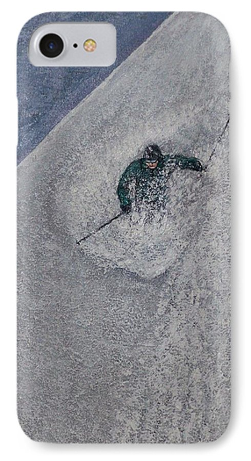 Ski IPhone 7 Case featuring the painting Gravity by Michael Cuozzo