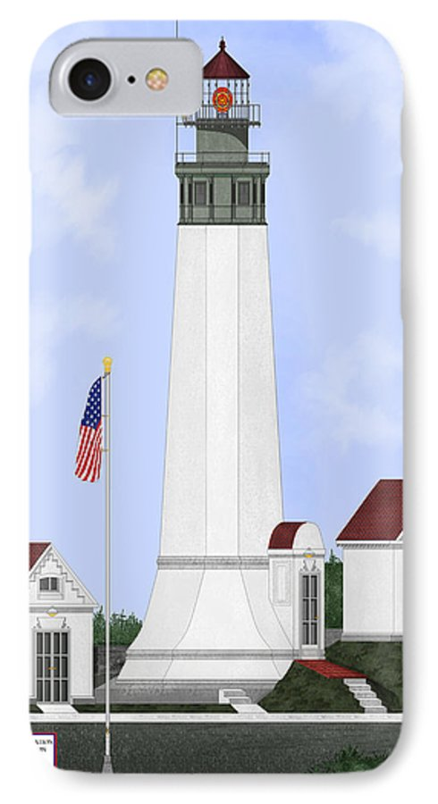 Lighthouse IPhone 7 Case featuring the painting Grays Harbor Light Station Historic View by Anne Norskog