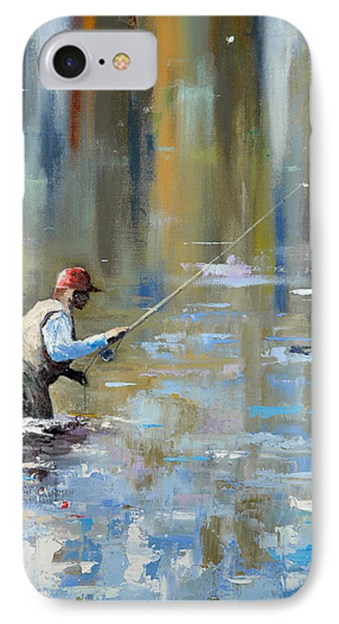 Flyfishing IPhone 7 Case featuring the painting Great Expectations by Glenn Secrest