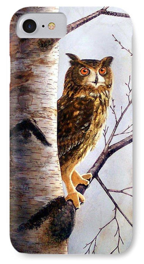 Great Horned Owl In Birch IPhone 7 Case featuring the painting Great Horned Owl In Birch by Frank Wilson