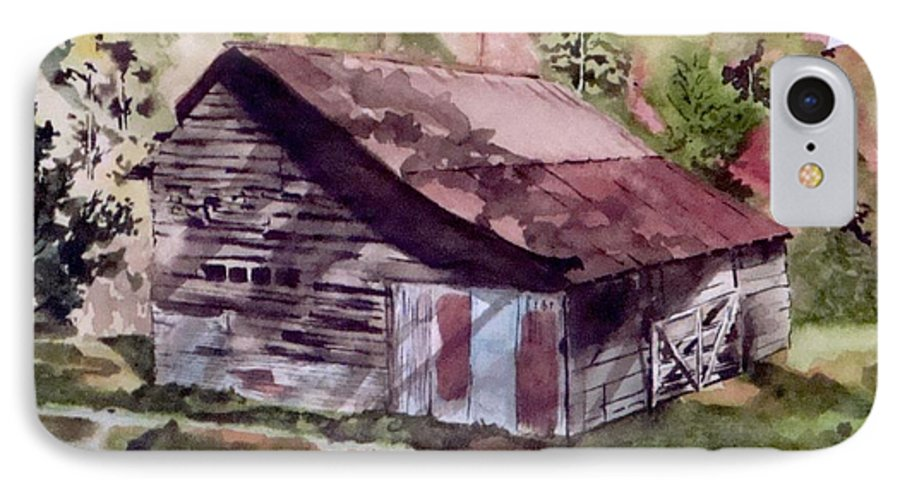 Barns IPhone 7 Case featuring the painting Green Creek Barn by Jean Blackmer