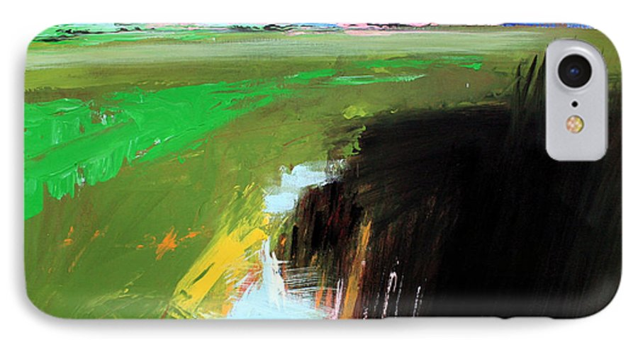 Abstract Landscape IPhone 7 Case featuring the painting Green Field by Mario Zampedroni
