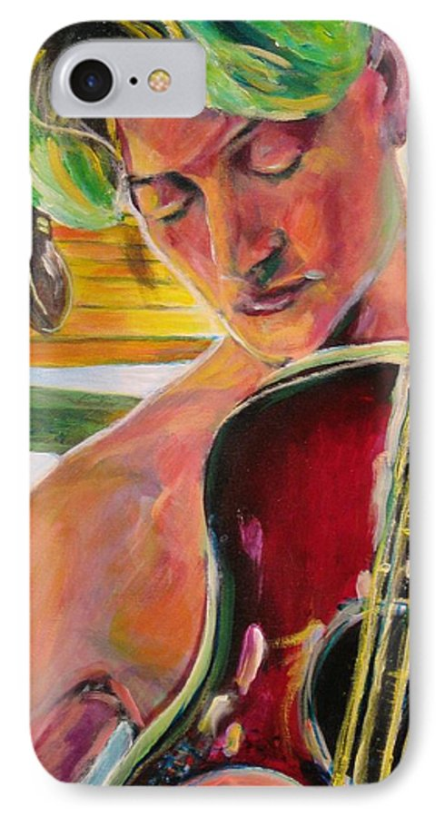 Boy IPhone 7 Case featuring the painting Green Hair Red Bass by Dennis Tawes