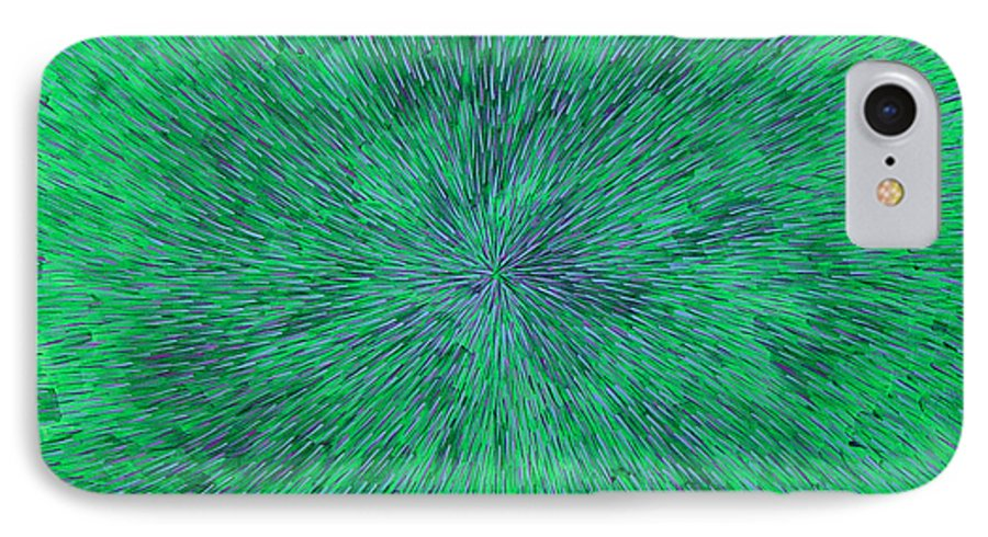 Abstract IPhone 7 Case featuring the painting Green Radation With Violet by Dean Triolo