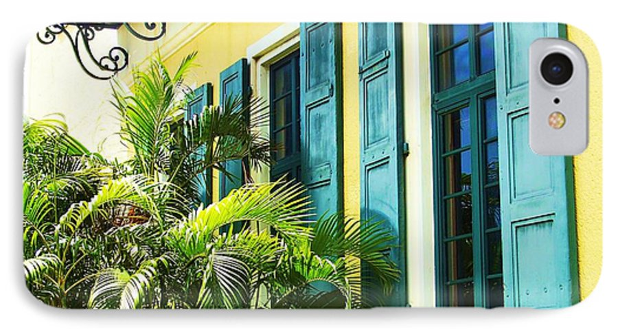 Architecture IPhone 7 Case featuring the photograph Green Shutters by Debbi Granruth