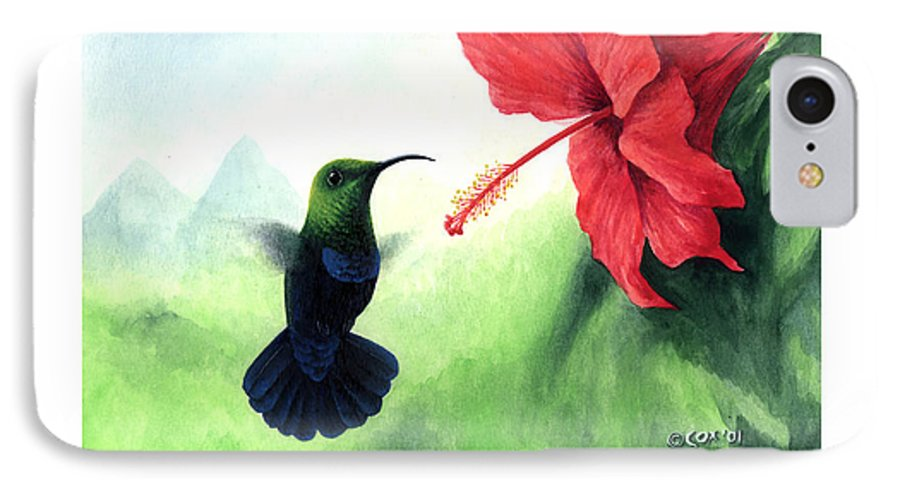 Chris Cox IPhone 7 Case featuring the painting Green-throated Carib Hummingbird And Red Hibiscus by Christopher Cox