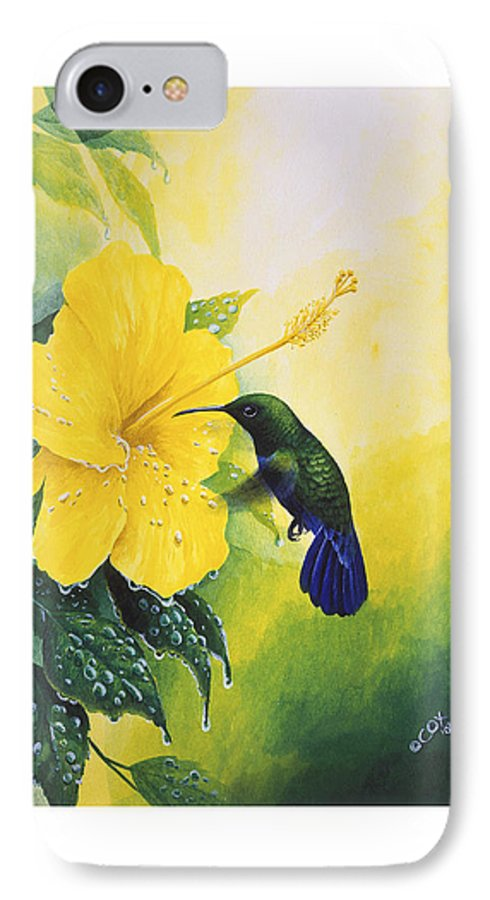 Chris Cox IPhone 7 Case featuring the painting Green-throated Carib Hummingbird And Yellow Hibiscus by Christopher Cox