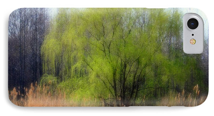 Scenic Art IPhone 7 Case featuring the photograph Green Tree by Linda Sannuti