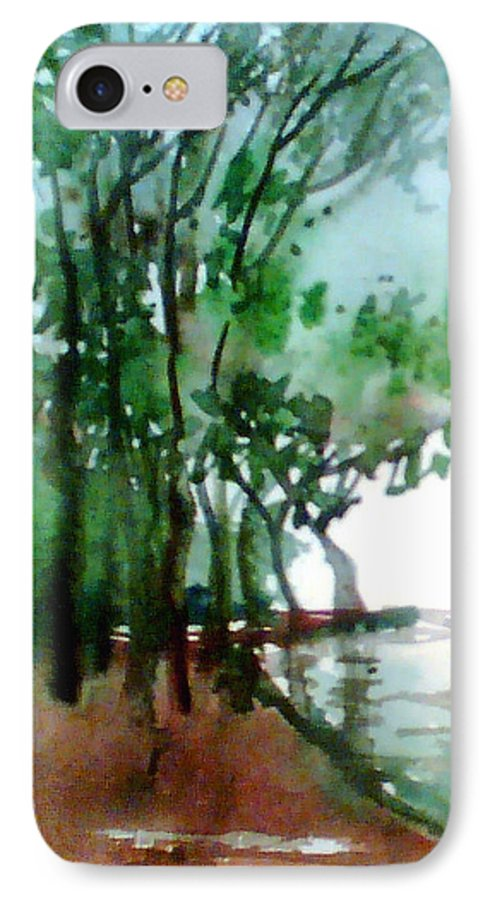 Water Color IPhone 7 Case featuring the painting Greens by Anil Nene