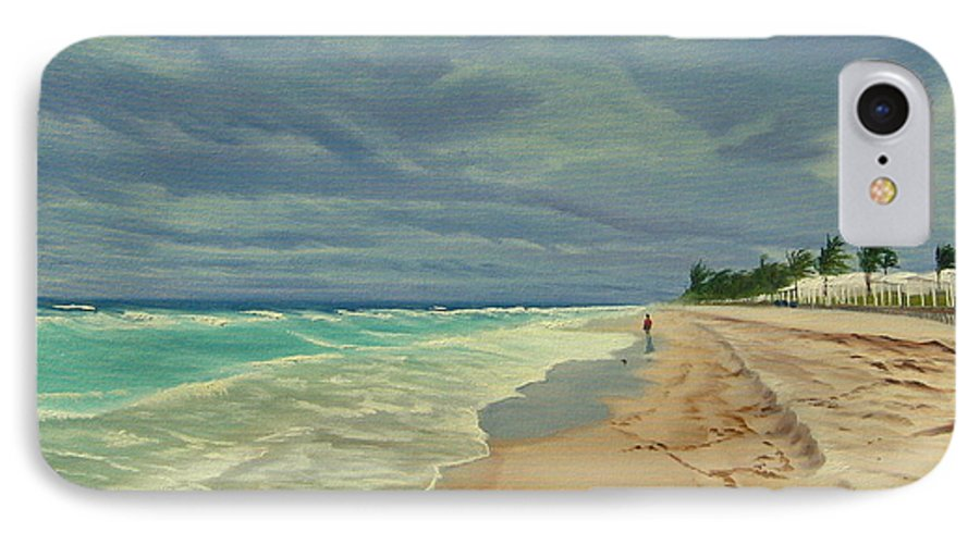 Beach IPhone 7 Case featuring the painting Grey Day On The Beach by Lea Novak