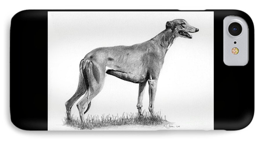 Dog IPhone 7 Case featuring the drawing Greyhound by Karen Townsend