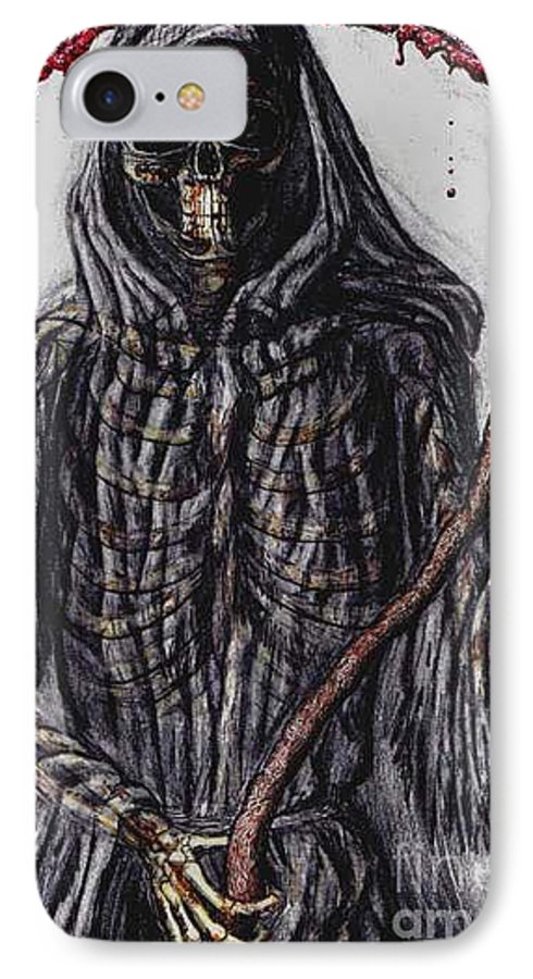 Grim Reaper IPhone 7 Case featuring the drawing Grim Reaper Colored by Katie Alfonsi