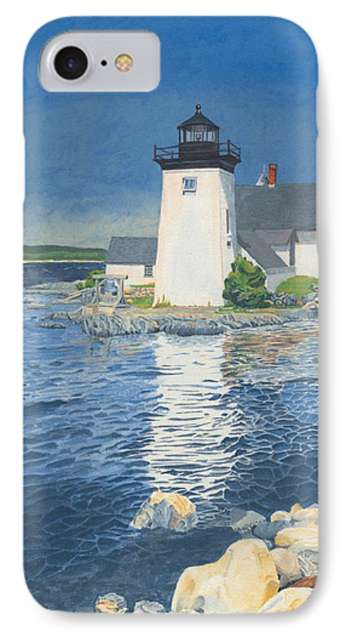 Lighthouse IPhone 7 Case featuring the painting Grindle Point Light by Dominic White