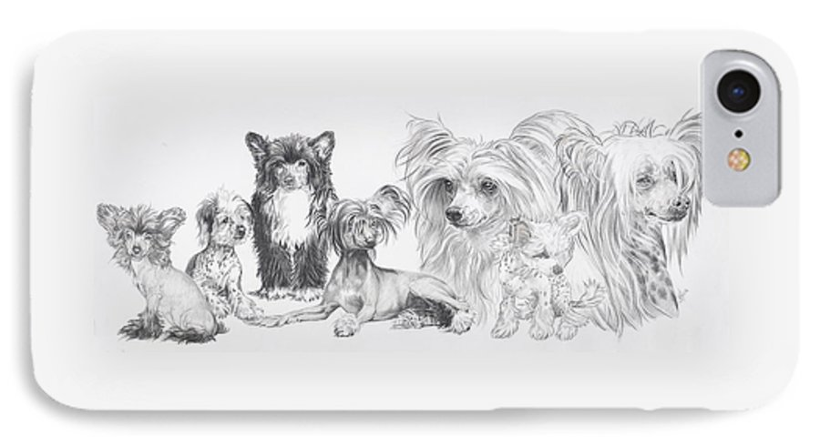 Toy Group IPhone 7 Case featuring the drawing Growing Up Chinese Crested And Powderpuff by Barbara Keith