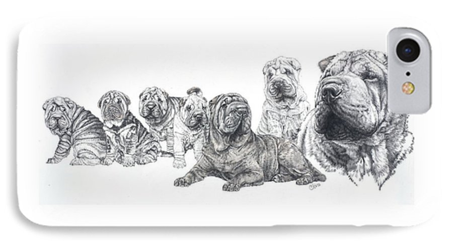Non-sporting Group IPhone 7 Case featuring the drawing Growing Up Chinese Shar-pei by Barbara Keith