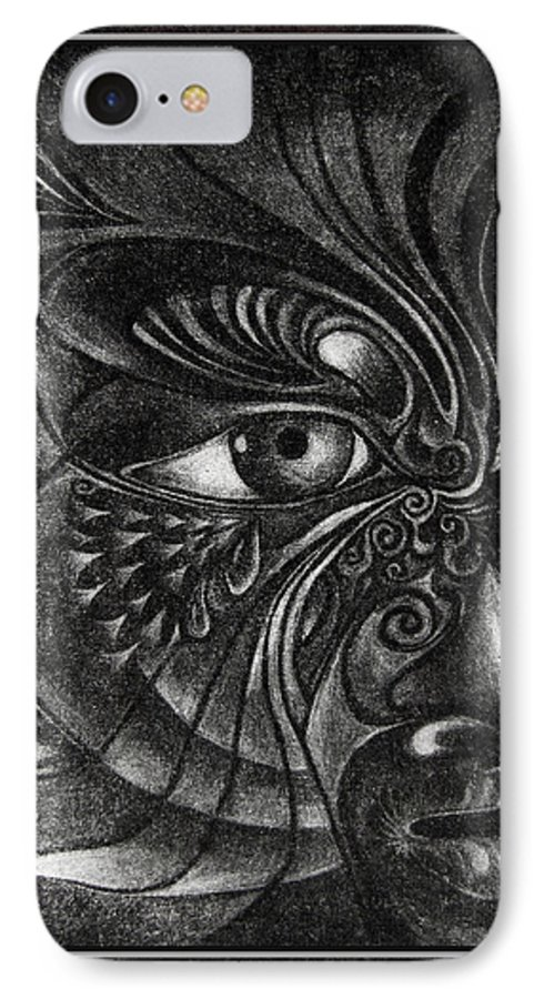 Mezzotint IPhone 7 Case featuring the drawing Guardian Cherub by Otto Rapp