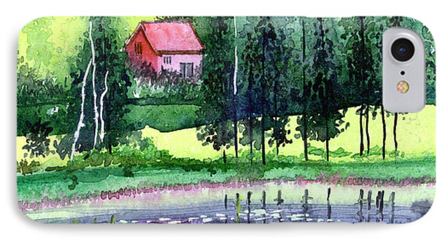 Landscape IPhone 7 Case featuring the painting Guest House by Anil Nene