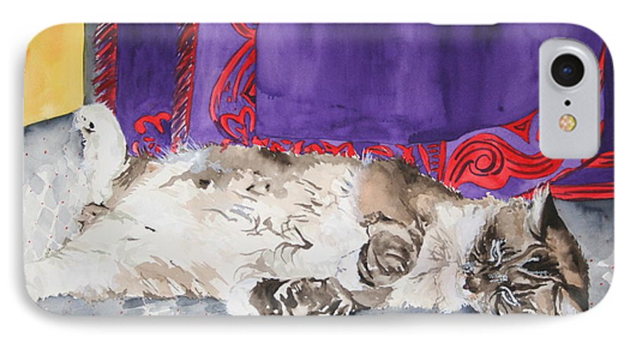 Cat IPhone 7 Case featuring the painting Guilley by Jean Blackmer