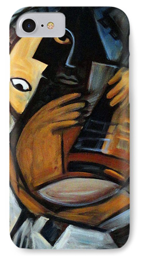 Cubism IPhone 7 Case featuring the painting Guitarist by Valerie Vescovi
