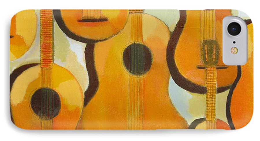 Abstract IPhone 7 Case featuring the painting Guitars by Habib Ayat