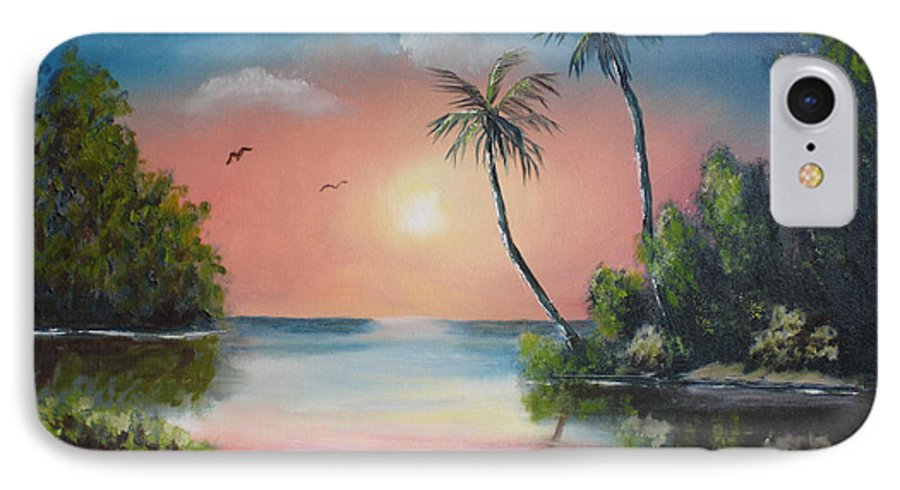 Sunset IPhone 7 Case featuring the painting Gulf Coast Sunset by Susan Kubes