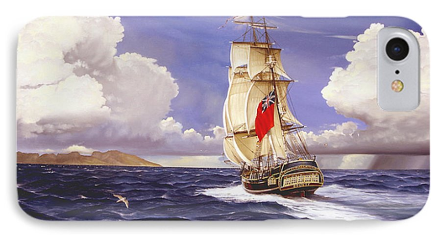 Marine IPhone 7 Case featuring the painting H. M. S. Bounty At Tahiti by Marc Stewart