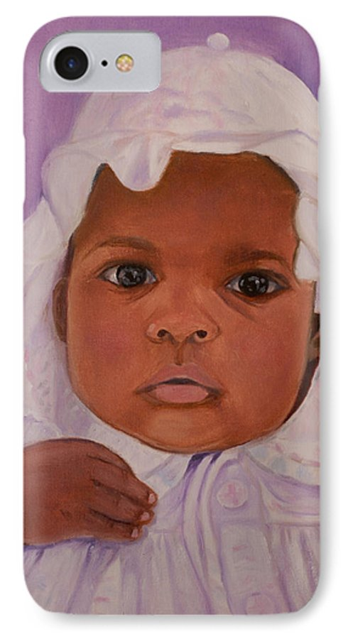 Haiti IPhone 7 Case featuring the painting Haitian Baby Orphan by Quwatha Valentine