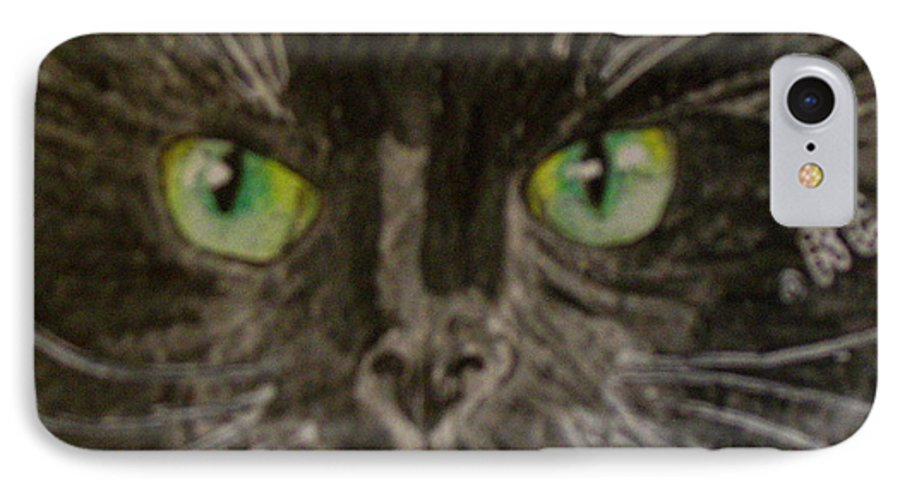 Halloween IPhone 7 Case featuring the painting Halloween Black Cat I by Kathy Marrs Chandler