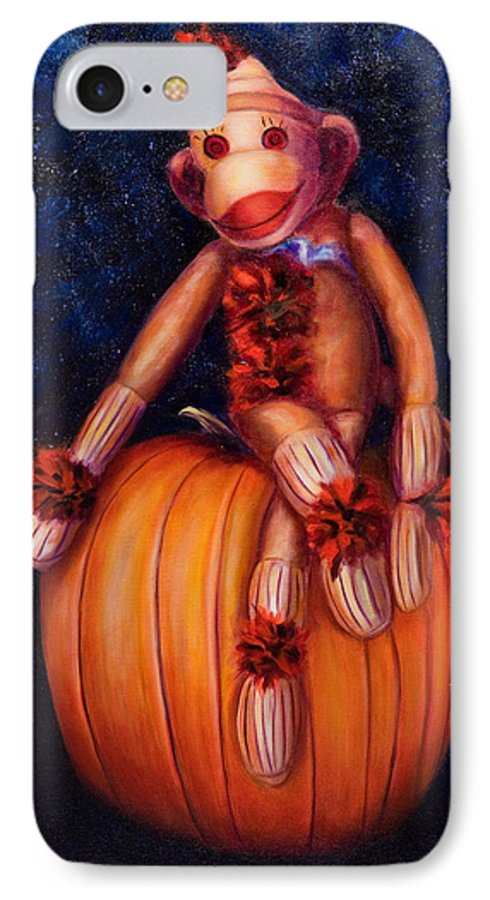 Pumpkin IPhone 7 Case featuring the painting Halloween by Shannon Grissom