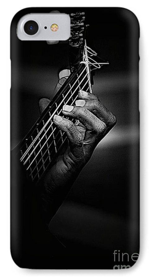 Guitar IPhone 7 Case featuring the photograph Hand Of A Guitarist In Monochrome by Sheila Smart Fine Art Photography