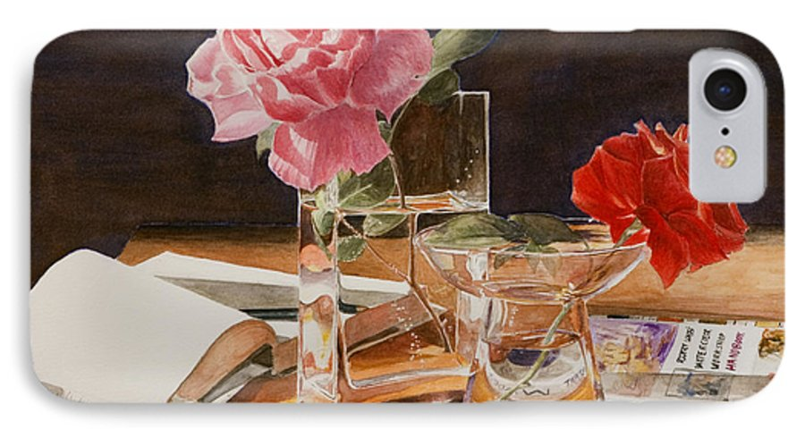 Rose IPhone 7 Case featuring the painting Handbuch by Nik Helbig