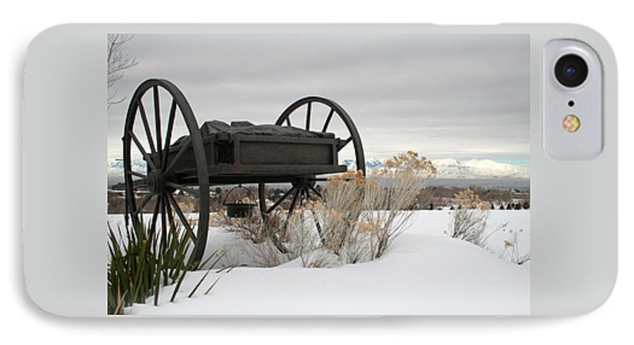 Handcart IPhone 7 Case featuring the photograph Handcart Monument by Margie Wildblood