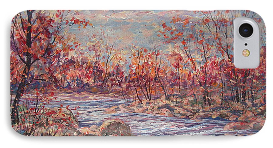 Landscape IPhone 7 Case featuring the painting Happy Autumn Days. by Leonard Holland