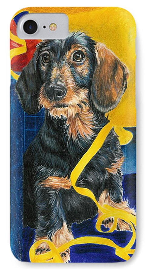 Dogs IPhone 7 Case featuring the drawing Happy Birthday by Barbara Keith