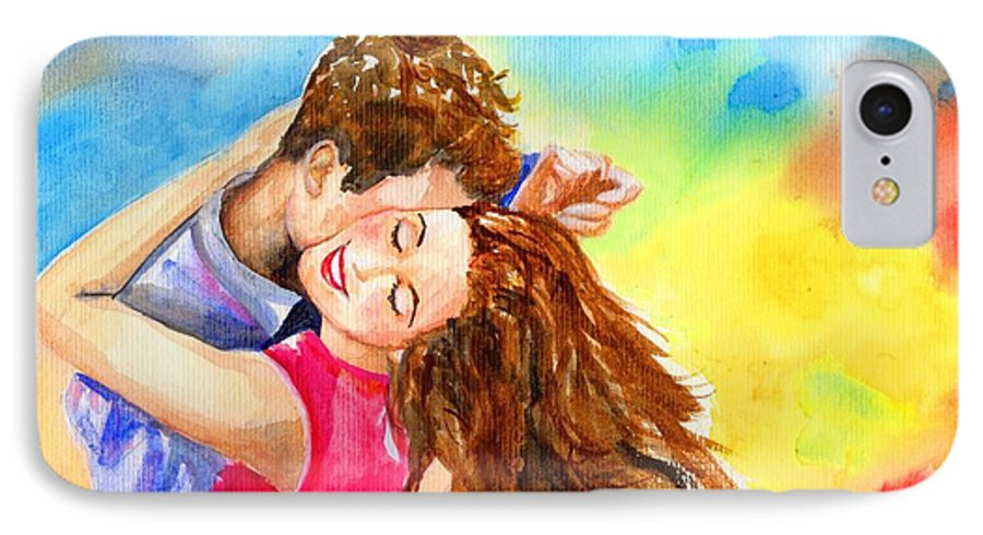 Cheerful IPhone 7 Case featuring the painting Happy Dance by Laura Rispoli