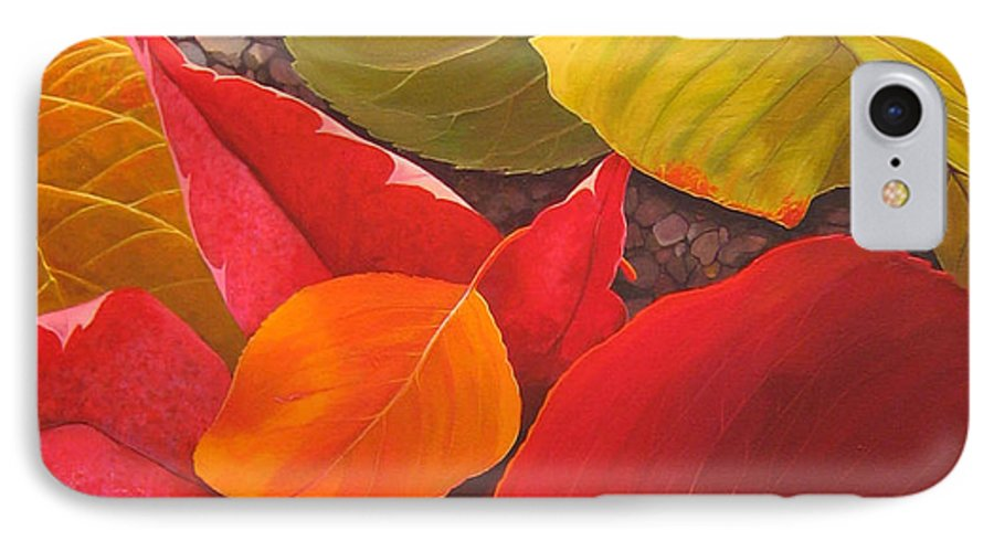 Autumn Leaves IPhone 7 Case featuring the painting Happy Landings by Hunter Jay