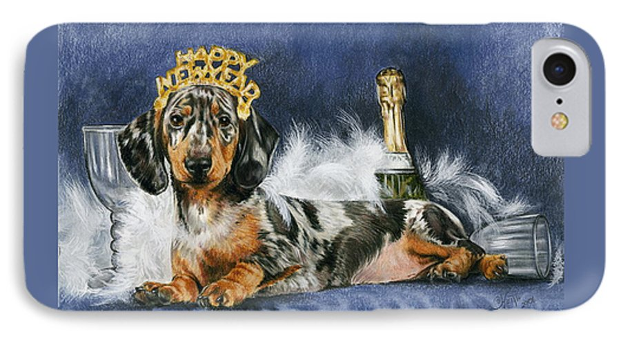 Dogs IPhone 7 Case featuring the mixed media Happy New Year by Barbara Keith